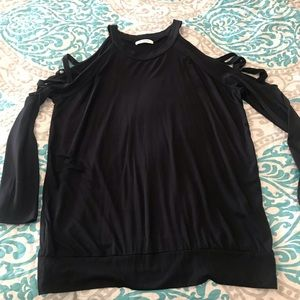 Cherish Black Criss Cross Shoulder Detail Top